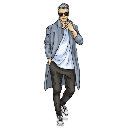 Vector man model dressed in pants, t-shirt and long coat