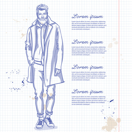 Modello di uomo vettoriale vestito con pantaloni, camicia, giacca di jeans, scarpe da ginnastica e cappotto lungo su una pagina di quaderno Vettoriali