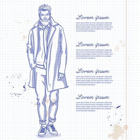 Modelo de homem de vetor vestida de calça, camisa, jeanse jaqueta, tênis e casaco longo em uma página de caderno