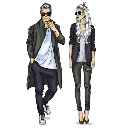 Vector woman and man fashion models with sunglasses, autumn outfit