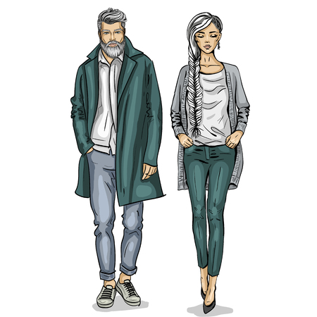Vector woman and man fashion models, autumn collection, stylish outfit