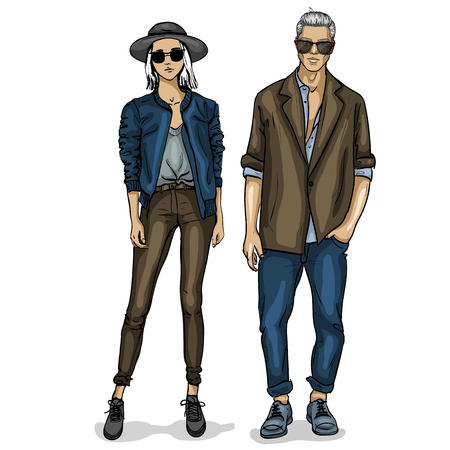 Vector woman and man fashion models, spring hipster outfit