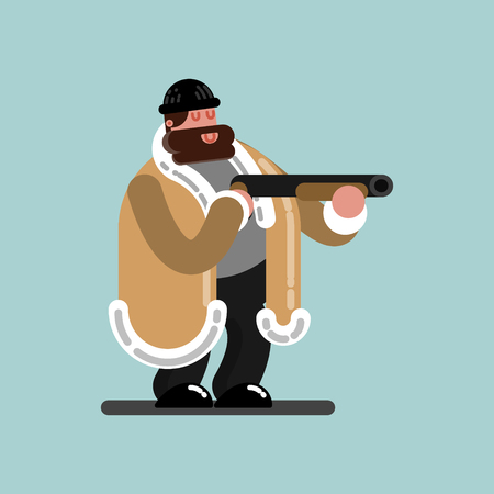 Big guy with shotgun is ready to shoot. Vector illustration, EPS 10
