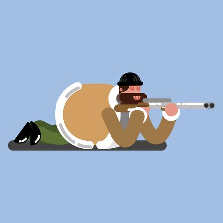 Big hunter lies on the flor and ready to shoot. Vector illustration, EPS 10