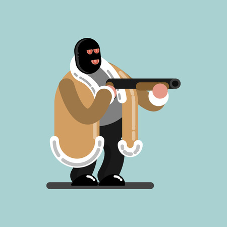 Big robber in mask is ready to shoot. Vector illustration, EPS 10