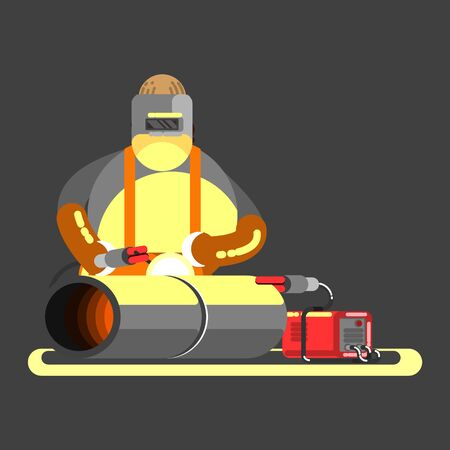 Big welder in work. Vector illustration, EPS 10