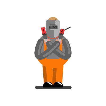 Big welder with hands cross. Vector illustration, EPS 10