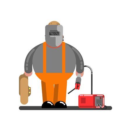 Big welder with welding machine. Vector illustration, EPS 10