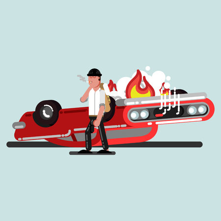 Guy with gun and car in fire behind. Vector illustration, EPS 10