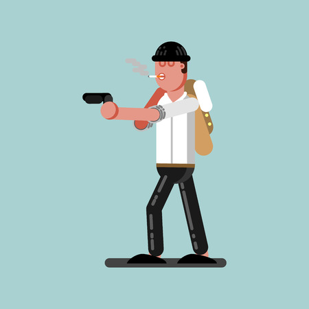 Guy with gun is ready to shoot. Vector illustration, EPS 10