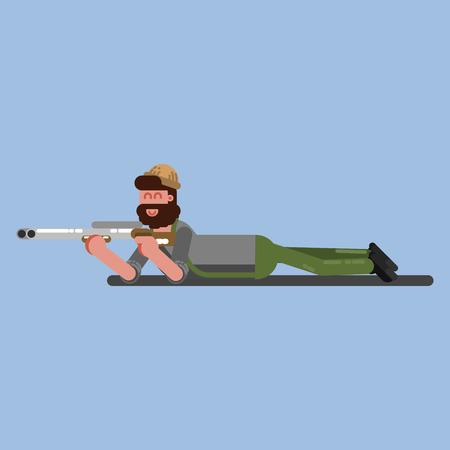 Hunter lies on the flor and ready to shoot. Hunters isolated on color background. Hunters vector icon illustration. Imagens - 94716112