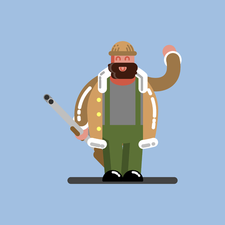 Hunter with gun. Hunters isolated on color background. Hunters vector icon illustration.