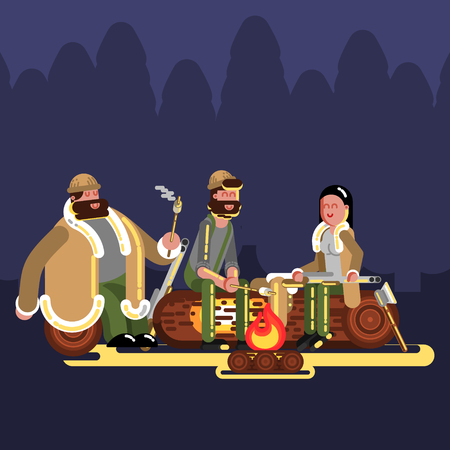 Hunters near fire. Hunters isolated on color background. Hunters vector icon illustration.
