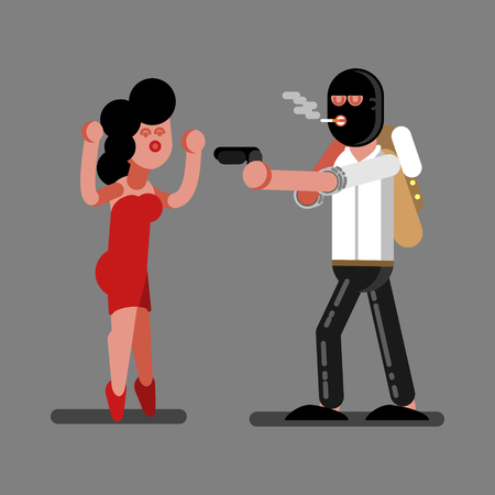 Robber rob a girl. Vector illustration, EPS 10 Çizim