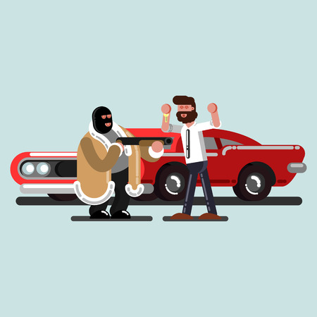 Robber steal a car. Vector illustration, EPS 10