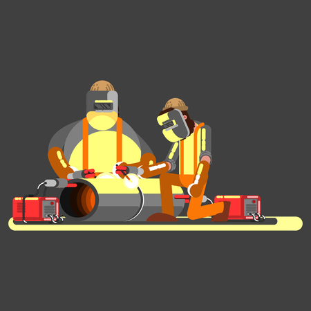 Two welders in work. Made metal. Vector illustration, EPS 10