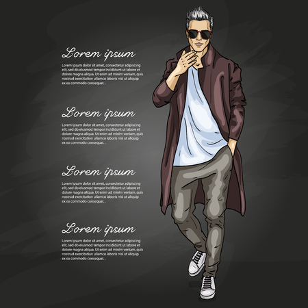 Vector man model dressed in pants, t-shirt and long coat on a dark background Illustration