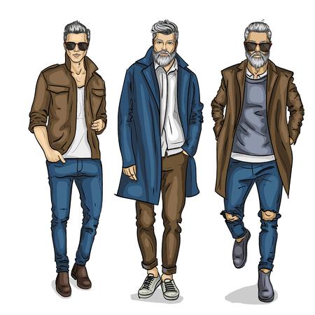 Modelos de homem de vetor vestidos em estilo casual, desenho, look de outono