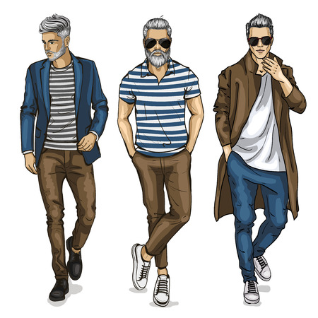 Vector young man models