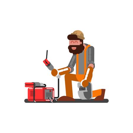 Welder sets up welding machine