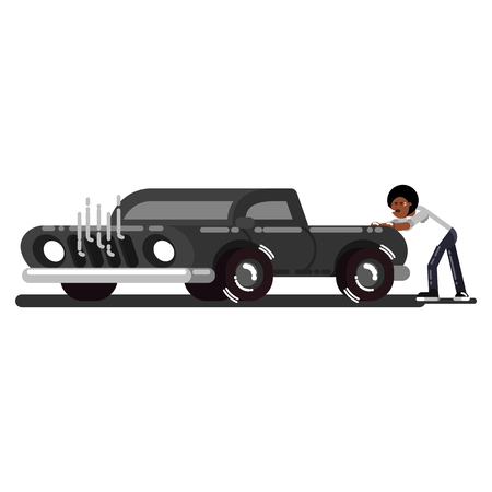 Black man pushes the broken car