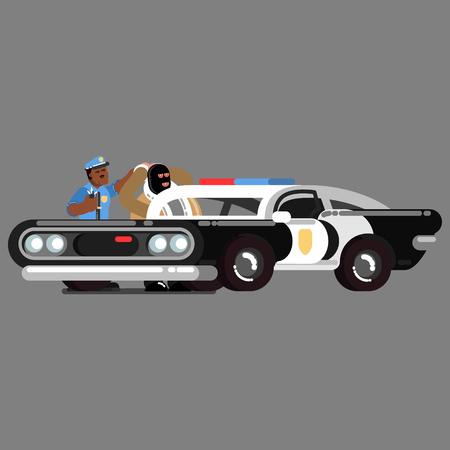 Police officer apprehending a criminal.