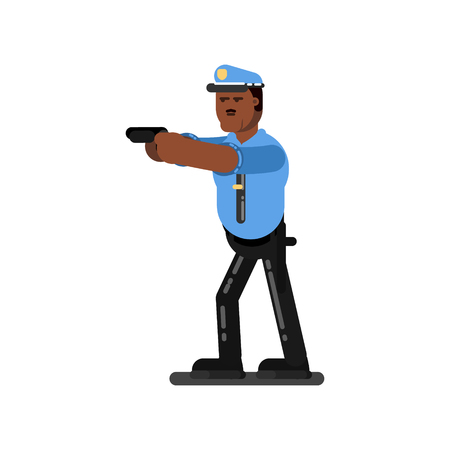 Male police officer holding gun icon.