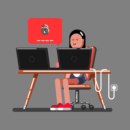 Girl hacker trying to access the computer illustration. Иллюстрация
