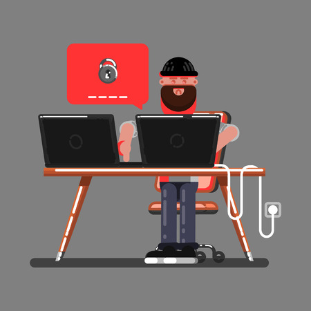 Hacker in front of a computer icon. Illustration