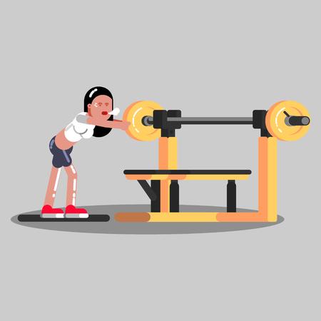 Girl put pancake on barbell in gym Vettoriali