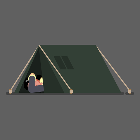 Homeless girl sleeps in tent