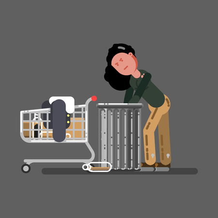 Homeless girl with a cart digs