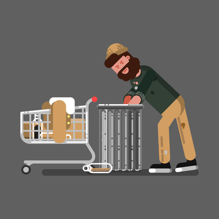 Homeless guy with a cart digs in the garbage bin Ilustrace