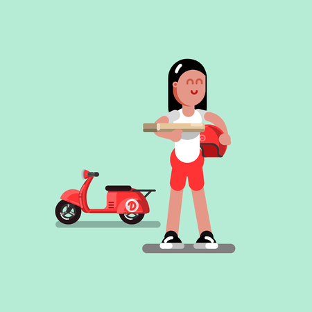 Delivery sketch girl hold helmet and pizza illustration. Illustration