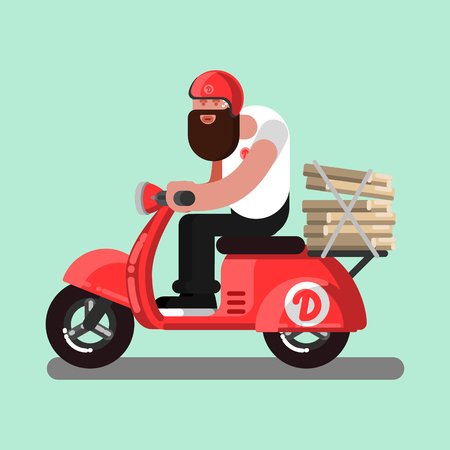 Delivery boy on scooter with pizza. Vector illustration.