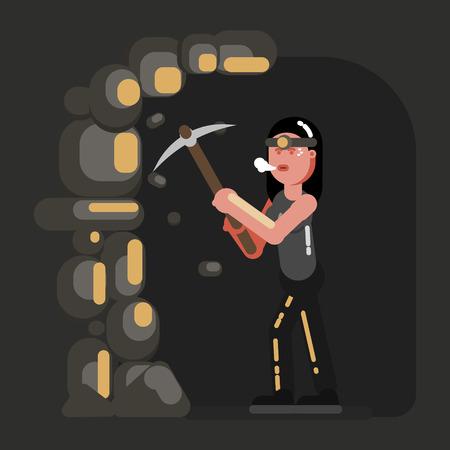 Miner girl in work Illustration