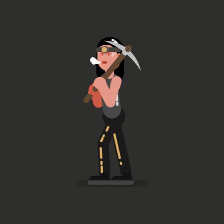 Miner girl hard working Stock Illustratie