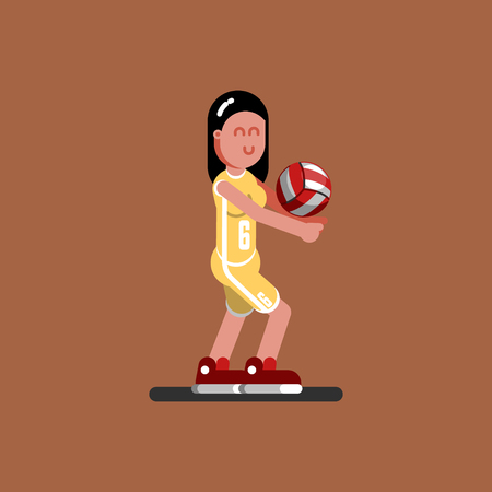 Volleyball female player dig the ball illustration.