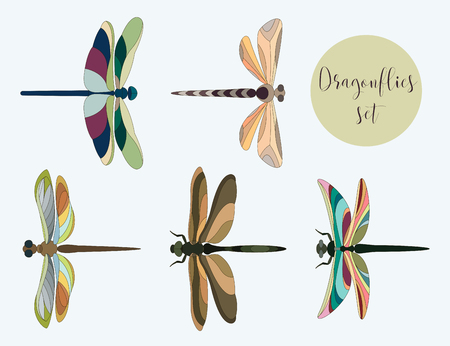 Set of silhouettes of dragonflies. Vector illustration, EPS 10