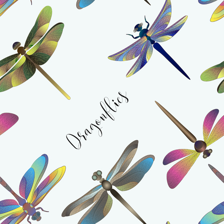 Pattern of silhouettes of dragonflies. Vector illustration EPS 10 Ilustrace