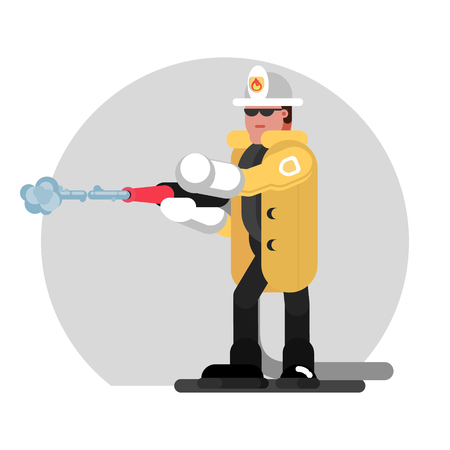 Fireman extinguishes the fire. Vector illustration, EPS 10