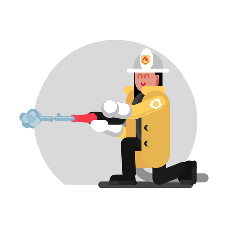 Fireman girl sat down and extinguishes the fire. Vector illustration, EPS 10