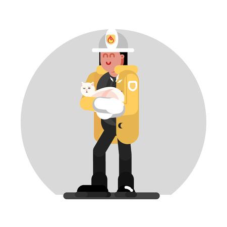 Fireman girl saves the cat. Vector illustration, EPS 10 Ilustração