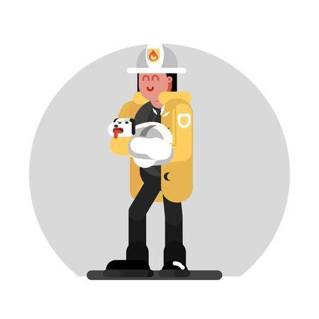 Fireman girl saves the dog. Vector illustration, EPS 10