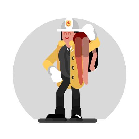 Fireman girl saves the human. Vector illustration, EPS 10 Ilustração