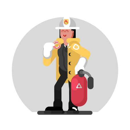 Fireman girl standing with fire extinguisher. Vector illustration, EPS 10
