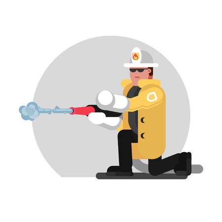 Fireman sat down and extinguishes the fire. Vector illustration, EPS 10 Illustration