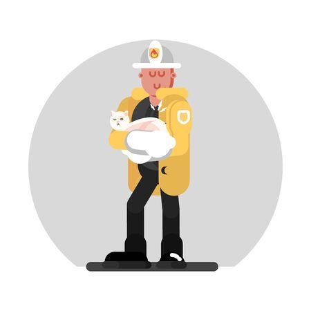 Fireman saves the cat. Vector illustration, EPS 10 Ilustração
