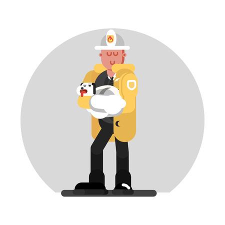 Fireman saves the dog Vector illustration.