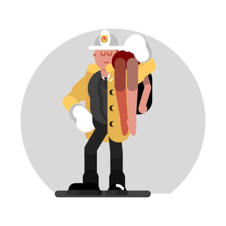 Fireman saves the human Vector illustration.